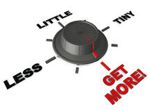 Get more. Switch flipped to get more away from less, little and tiny, white background, concept of better returns royalty free illustration
