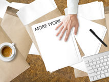 Get more work. Getting more paperwork task on desk Stock Photos