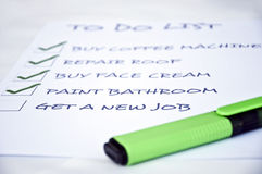 Get new job. To do list with get new job Royalty Free Stock Photo