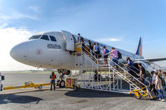 Get off from Airplane, Dumaguete Airport Royalty Free Stock Photography