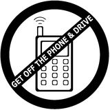 Get Off The Phone & Drive. Get Off the phone while you drive sign. Several states have made this a law. High Resolution image perfect for stickers, vinyl cut Royalty Free Illustration