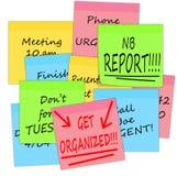 Get organized - business stress notes, white background stock illustration