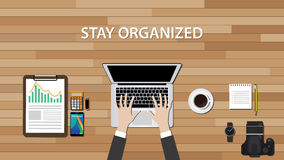 Get organized workspace with people work on his desk stock illustration