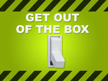Get Out of the Box concept. 3D illustration of GET OUT OF THE BOX title above an electric switch on green wall Stock Image