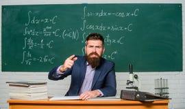 Get out of class. Teacher strict serious bearded man chalkboard background. Teacher looks threatening. Rules of school