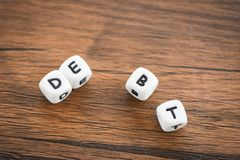 Get out of debt concept / Increased liabilities from exemption debt consolidation of financial crisis royalty free stock photos