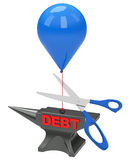 Get out of debt. 3d generated picture of a debt concept Stock Image