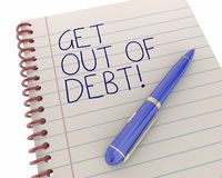 Get Out of Debt Financial Help Bankruptcy Pen Writing. Words 3d Illustration Stock Image