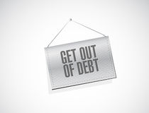 Get out of debt hanging sign concept Royalty Free Stock Images