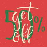Get 50 percent Off Sale Poster. Vector Hand written lettering on red background. Discount label Royalty Free Stock Images