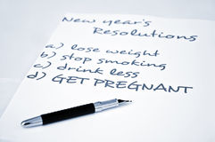 Get pregnant. New year resolution get pregnant Stock Images