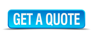 Get a quote blue 3d realistic square button. Get a quote blue 3d realistic square isolated button stock illustration