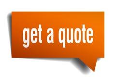 Get a quote orange 3d speech bubble. Get a quote orange 3d square isolated speech bubble vector illustration
