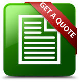 Get a quote page icon green square button Stock Photography