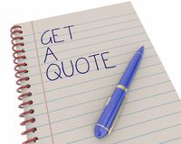 Get a Quote Price Estimate Notepad Pen. Writing Words 3d Illustration Stock Photo