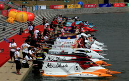 Get ready. Powerboats parked at the start of the pier, was waiting for the start of free practice at GP of China Stock Photography