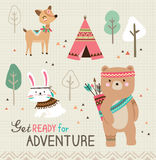 Get ready for adventure. Quote poster with cute tribal animals royalty free illustration