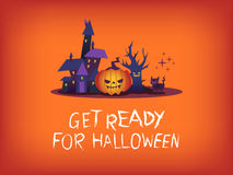Get ready for halloween text with scary pumpkin haunted house illustration Royalty Free Stock Photo