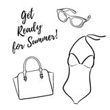 Get Ready For Summer Fashion set vector illustration hand drawn silhouette icons Stock Photography