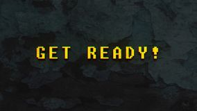 Get Ready!- text animation. Get Ready! - text animation with yellow letters over vintage wood background with peeling paint stock illustration