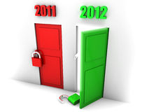 Get ready for year 2012. Happy new year symbolized by an open green door showing the passing from 2011 to 2012 Stock Photography