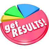 Get Results Pie Chart Achieve Increase Growth. The words Get Results on a pie chart with growing pieces or slices to illustrate improved or increase share or Stock Photography