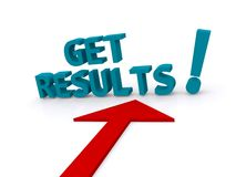 Get results!. Text 'get results !' in 3D blue letters with large red arrow below, white background stock illustration