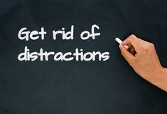 Get rid of distractions. On blackboard Royalty Free Stock Photo