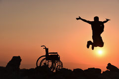 Get rid of the obstacles & overcome obstacles. Disabled young; get rid of the obstacles & overcome obstacles Stock Photo