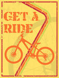 Get a ride. Abstract grunge poster with a bike silhouette and text get a ride stock illustration