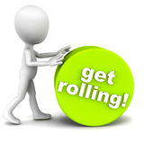 Get rolling. Getting started concept, 3d little man rolling a cylinder in green with get rolling text, white background stock illustration