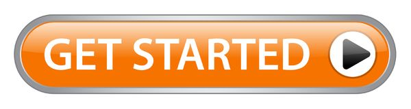 Get started button. Get started web button on computer generated web button icon on pure white background royalty free illustration