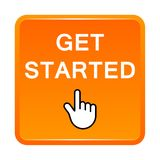 Get started button. Vector illustration of get started icon orange web square button on white background vector illustration