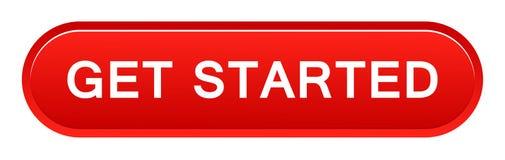 Get started button. Vector illustration of get started button web red button on white background stock illustration