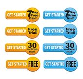 Get started - free trial button Stock Photo