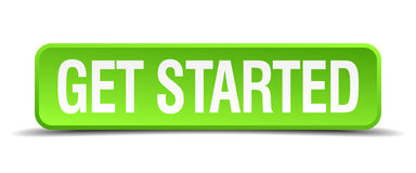 Get started green square isolated button Royalty Free Stock Photos