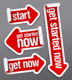 Get started now stickers. Get started now stickers set vector illustration