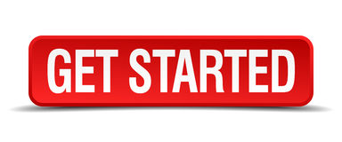Get started red 3d square button. On white background vector illustration