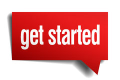 Get started red speech bubble. Get started red 3d realistic paper speech bubble Stock Photos