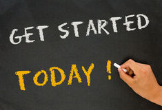 Get started today. On blackboard stock images