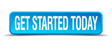 Get started today blue button Stock Photography