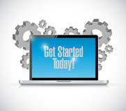 Get started today computer sign illustration Royalty Free Stock Image