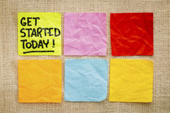 Get started today concept -  reminder notes Stock Photography