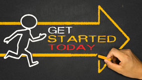 Get started today. Concept:running person and arrow royalty free stock images