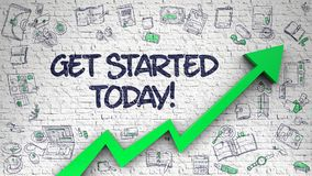 Get Started Today Drawn on White Brickwall. 3d. Get Started Today - Modern Style Illustration with Hand Drawn Elements. Get Started Today Inscription on Line Royalty Free Stock Images