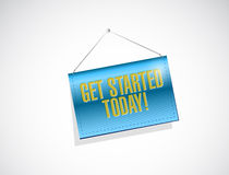 Get started today hanging banner illustration Royalty Free Stock Photos