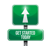 Get started today road sign illustration Royalty Free Stock Photography