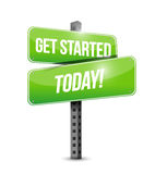 get started today street sign illustration design Royalty Free Stock Photography