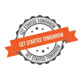 Get started tomorrow stamp illustration Stock Images