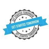 Get started tomorrow stamp illustration Stock Photo